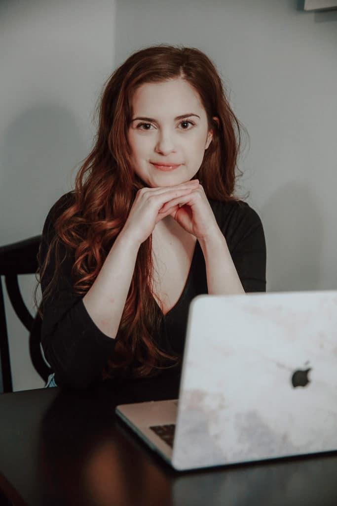 rachel posing with computer