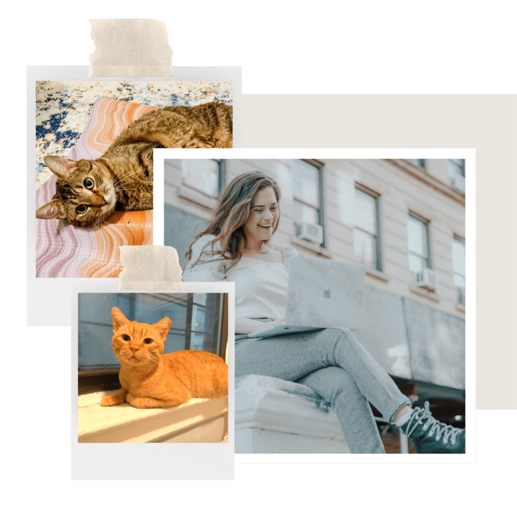 collage of rachel and her cats - rufus and cashew